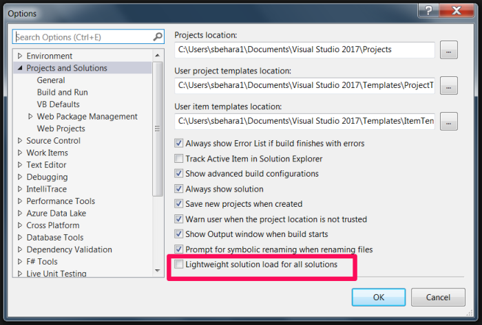 lightweight solution load visual studio 2015