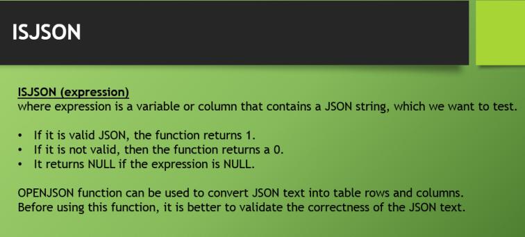 ISJSON Function