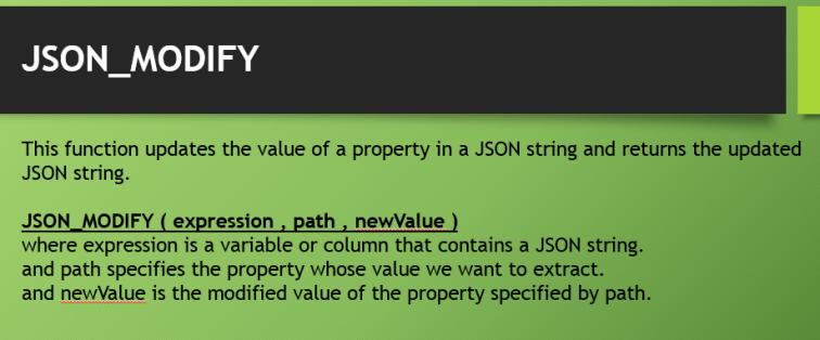 JSON_MODIFY Function