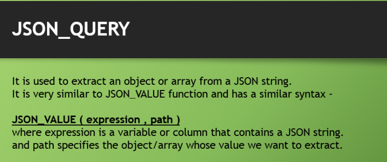 JSON_QUERY Function