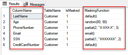Dynamic Data Masking - Masking Function