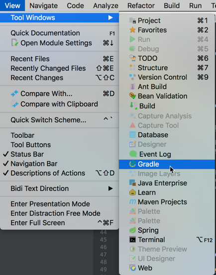 Gradle Window in IntelliJ