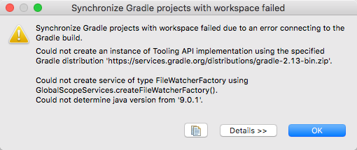 Synchronize Gradle Projects Error