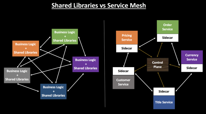 Shared libraries vs. service mesh